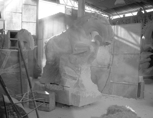 Statues in white marble - Statuario Carrara, Horses