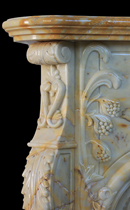 Detail of a marble fireplace