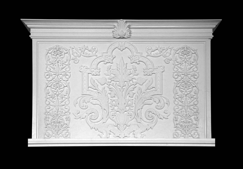 camino in marmo bianco - fregi, particolari