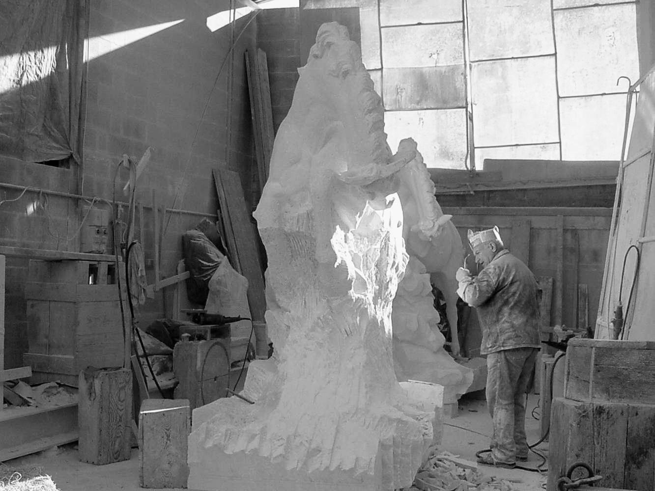 statua cavalli in marmo - scultura