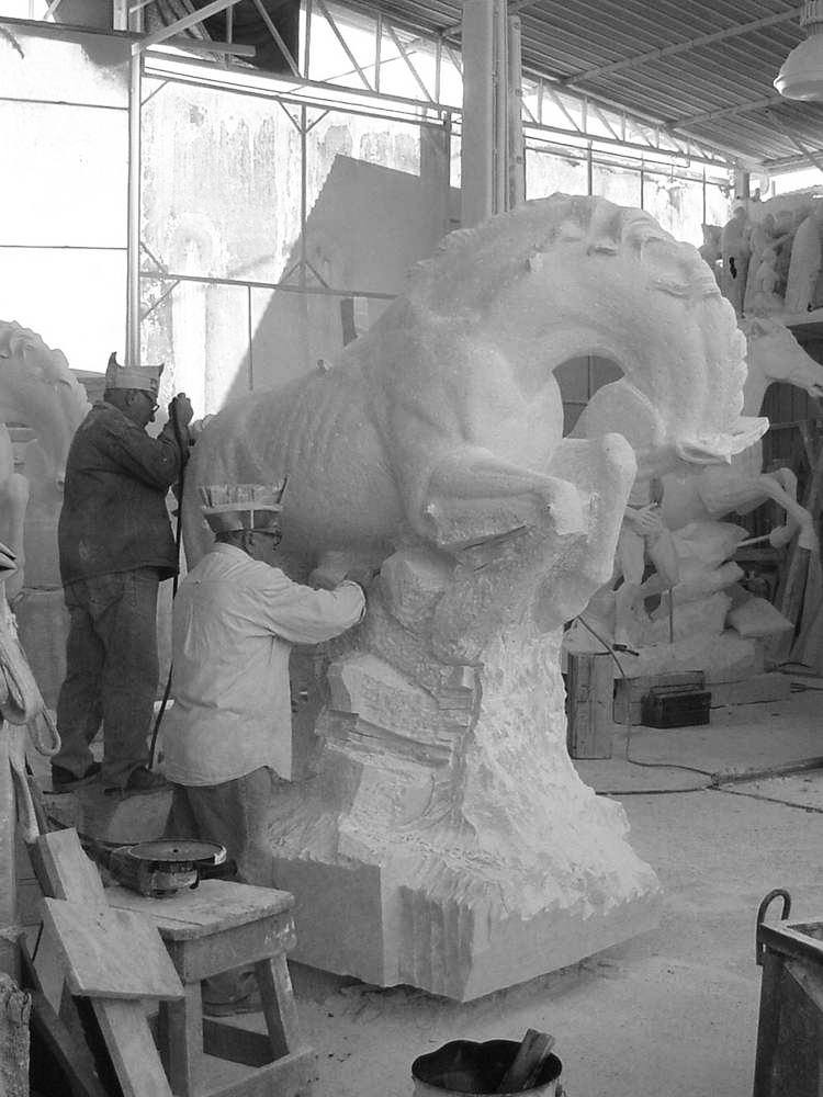 statua cavalli in marmo - scultura - 8
