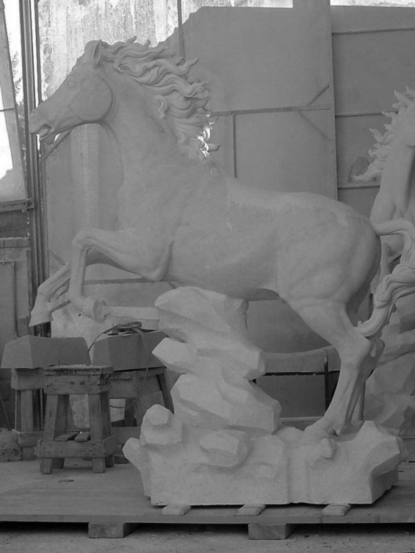 Marble Statue of Horses - sculpture - 9