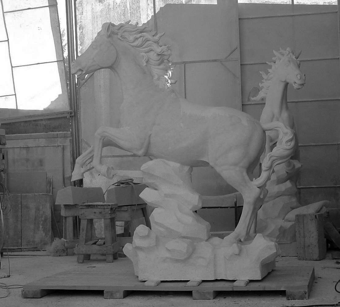 statua cavalli in marmo - scultura - 9