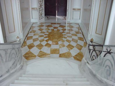 white marble staircase and marble floor