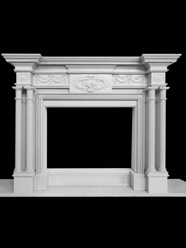 White Stone Fireplace - details - 1