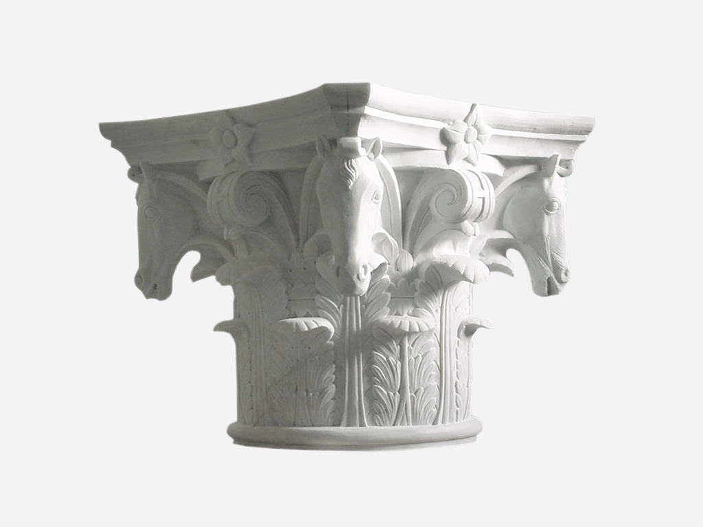 White Marble Capital with horses